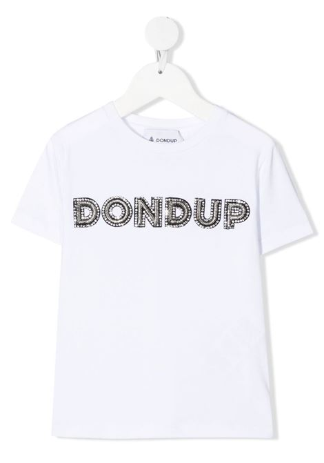 dondup kids tshirt con scritta logo in strass DONDUP | Tshirt | DFTS70JE174WD028B018