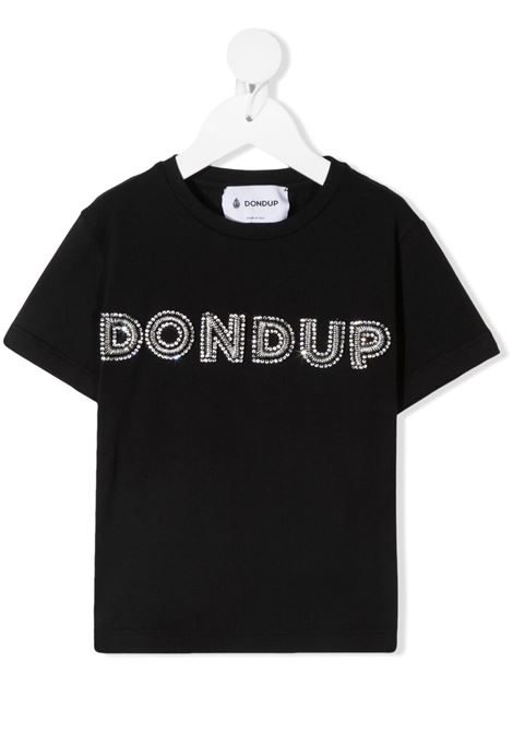 dondup kids tshirt con scritta logo in strass DONDUP | Tshirt | DFTS70JE174WD028N008