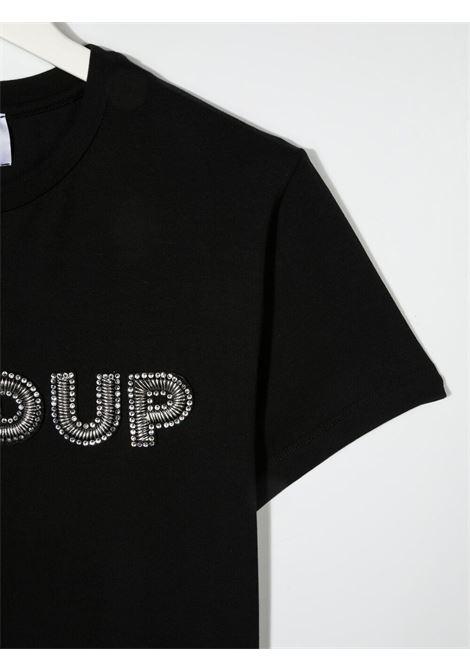dondup kids tshirt con scritta logo in strass DONDUP | Tshirt | DFTS70JE174WD028N008T