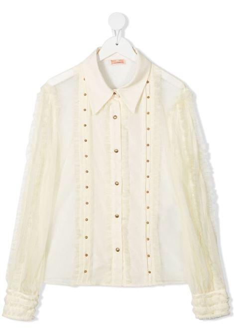 elisabbetta franchi camicia in tulle plumetis con rouches ELISABETTA FRANCHI | Camicia | EFCA126TU42WE0230021T