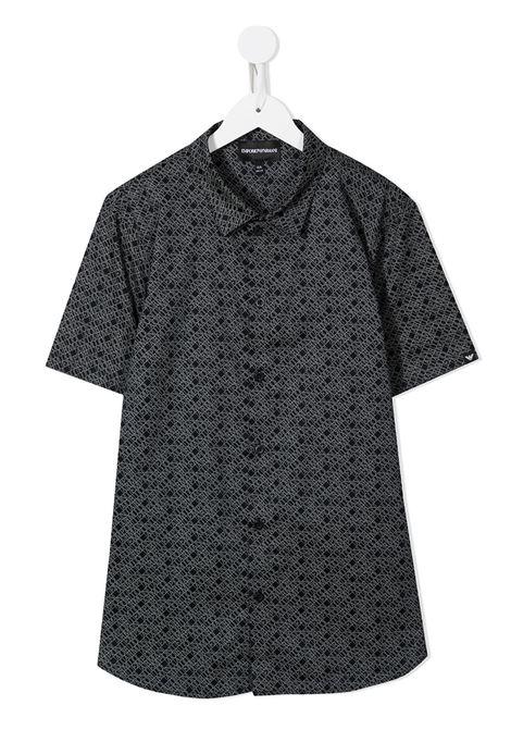 emporio armani camicia in tessuto stampato all logo EMPORIO ARMANI KIDS | Camicia | 3K4CC41NXTZF941T