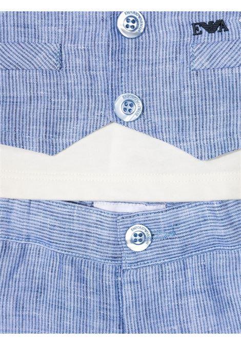 emporio armani tshirt con finto gilet e bermuda setturo righe EMPORIO ARMANI KIDS | Completo | 3KH8024N50ZF909