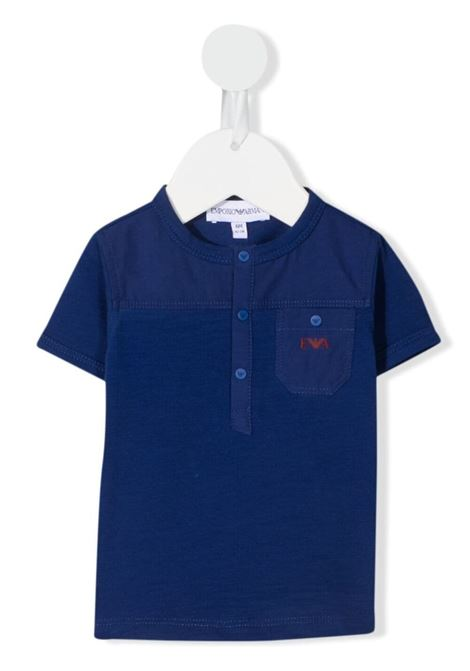 emporio armani tsirt serafino con stampa logo EMPORIO ARMANI KIDS | Tshirt | 3KHT024J4KZ0921
