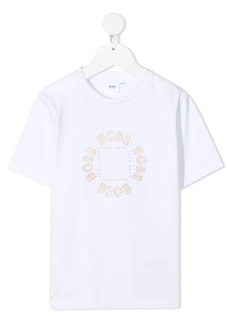 hugo boss tshirt con stampa scritta logo gold HUGO BOSS | Tshirt | J25G9310B