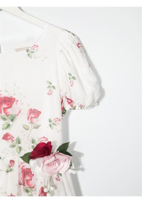 abito monnalisa chic con maniche a palloncino con stampa mazzolino di rose MONNALISA CHIC | Abito | 717915F676200001T