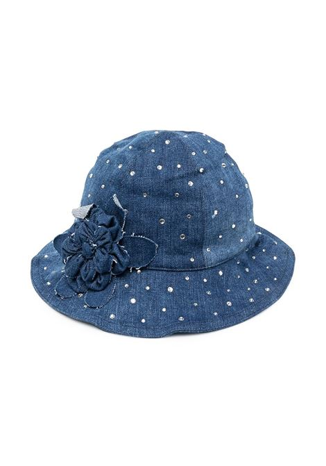 cappello monnalisa chic in denim con strass MONNALISA CHIC | Cappello | 79700570320055