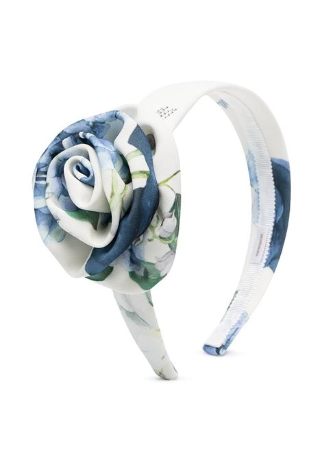 cerchietto monnalisa chic in cady con rosa stampa ortensie MONNALISA CHIC | Cerchietto | 79701076500251