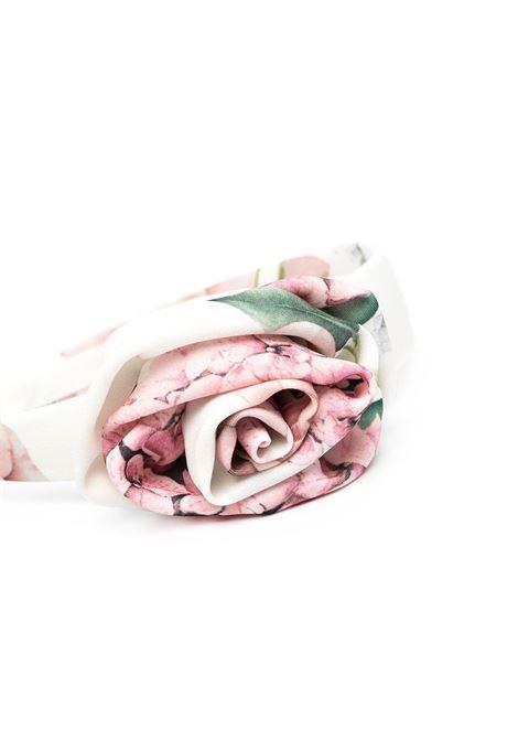 cerchietto monnalisa chic in cady con rosa stampa ortensie MONNALISA CHIC | Cerchietto | 79701076500292