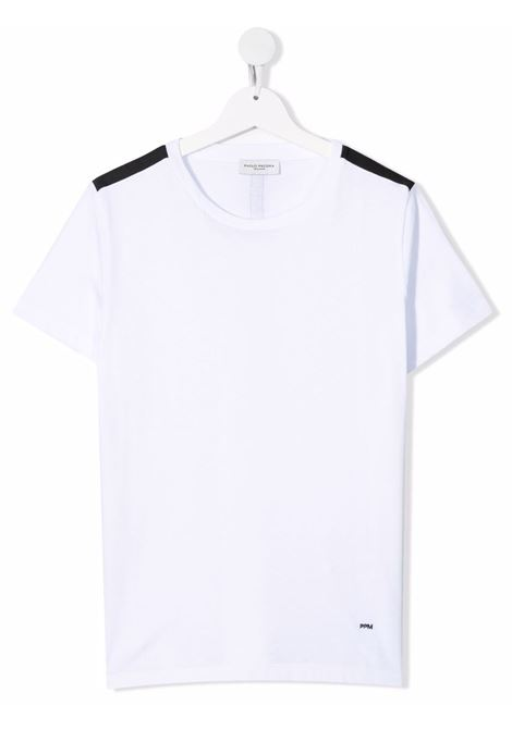 paolo pecora tshirt con banda su spalla a contrasto Paolo pecora   Tshirt   PP2662B/BLT
