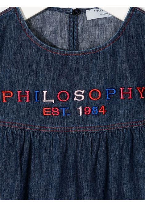 philosofy kids abito in chambray con ricamo logo multicolor Philosofy kids | Abito | PJAB139DF005WHUNI4050