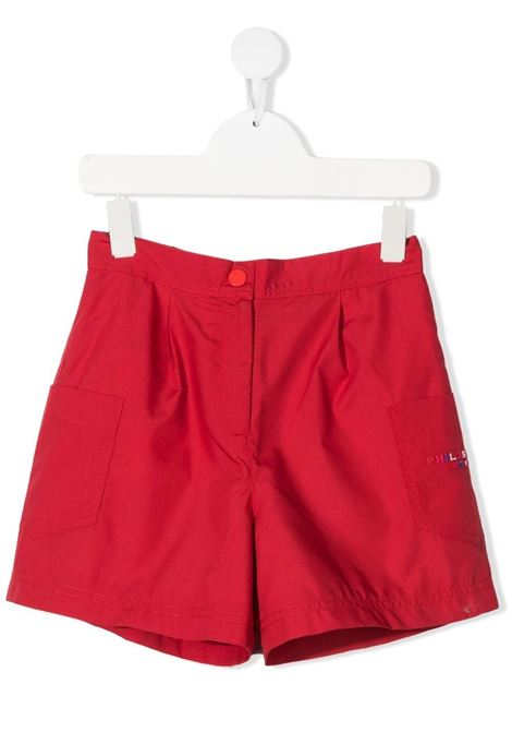 philosofy kids shorts con tashe  sui fianchi e logo ricamato multicolor Philosofy kids | Shorts | PJBE29TV581WH1053056