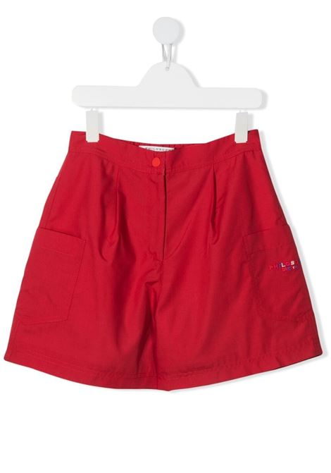 philosofy kids shorts con tashe  sui fianchi e logo ricamato multicolor Philosofy kids | Shorts | PJBE29TV581WH1053056T