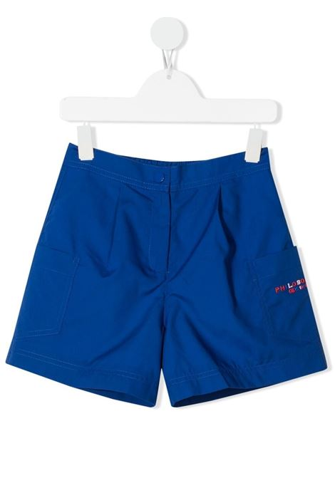 philosofy kids shorts con tashe  sui fianchi e logo ricamato multicolor Philosofy kids | Shorts | PJBE29TV581WH1054056