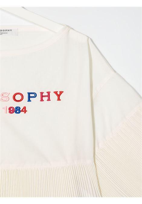 philosofy kids blusa con volant plisse e ricamo logo multicolor Philosofy kids | Blusa | PJCA71TV581WH1050056T
