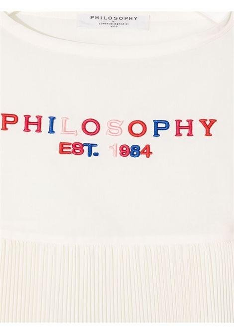 philosofy kids blusa con volant plisse e ricamo logo multicolor Philosofy kids | Blusa | PJCA71TV581WH1050056