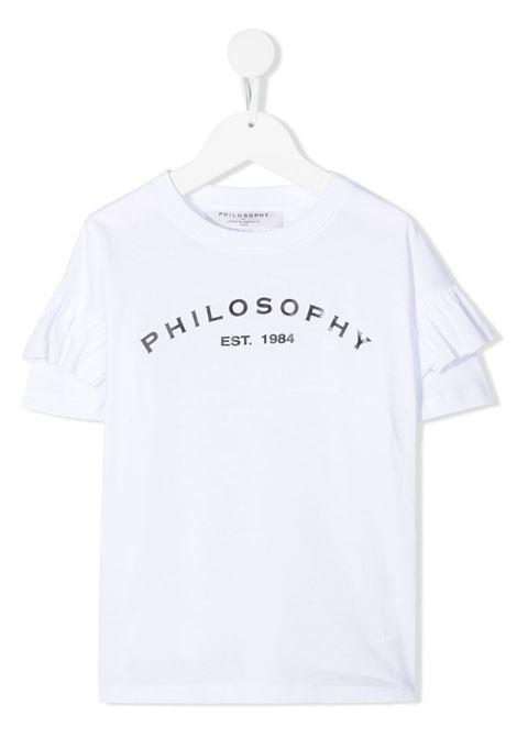 philosofy kids tshirt con manica rouches e stampa logo Philosofy kids | Tshirt | PJTS54JE138WH100B051