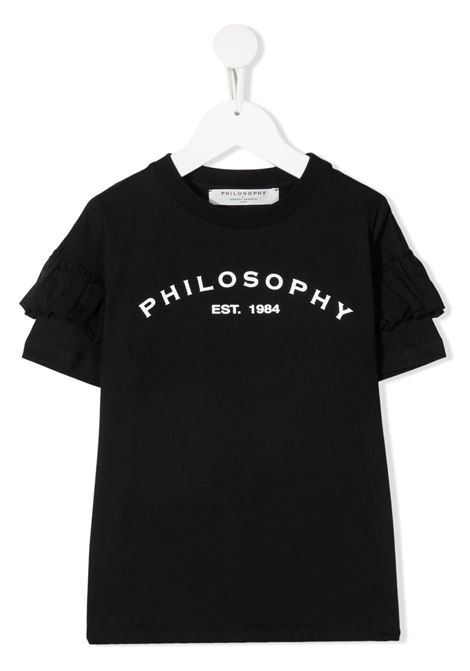 philosofy kids tshirt con manica rouches e stampa logo Philosofy kids | Tshirt | PJTS54JE138WH100N051