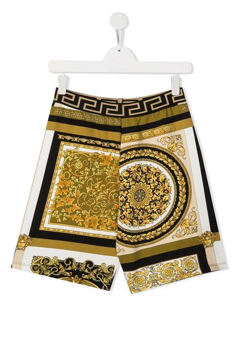 young versace bermuda in felpa stampa barocco con cinta greca young versace | Bermuda | 10001241A002655W060T