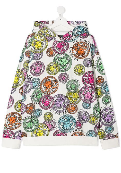 young versace felpa cappuccio in stampa medusa multicolor young versace | Felpa | 10003441A002855W000T