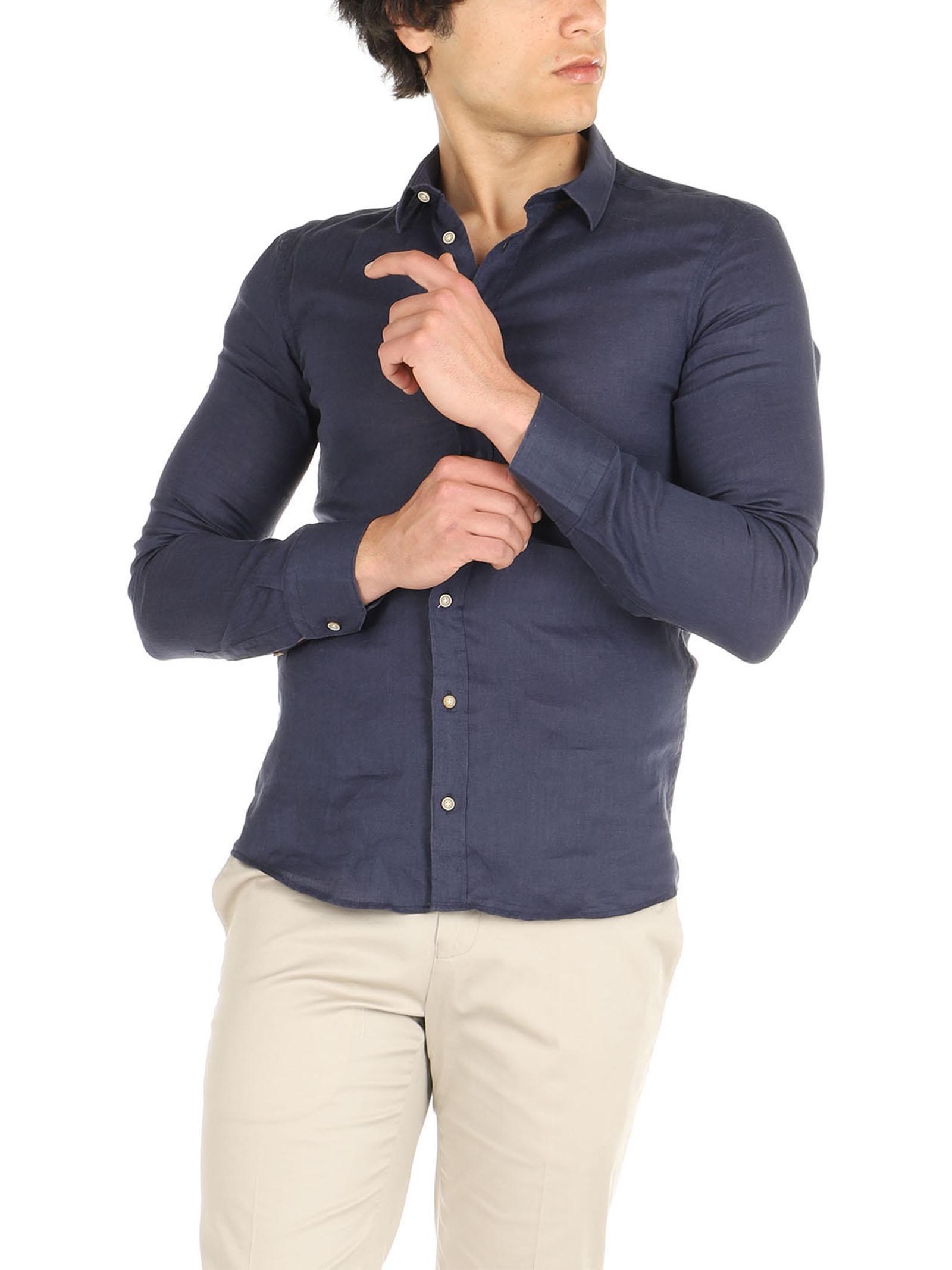 Camicia lino maniche lunghe De Lamp   Camicie    DL21 3000DXBLU