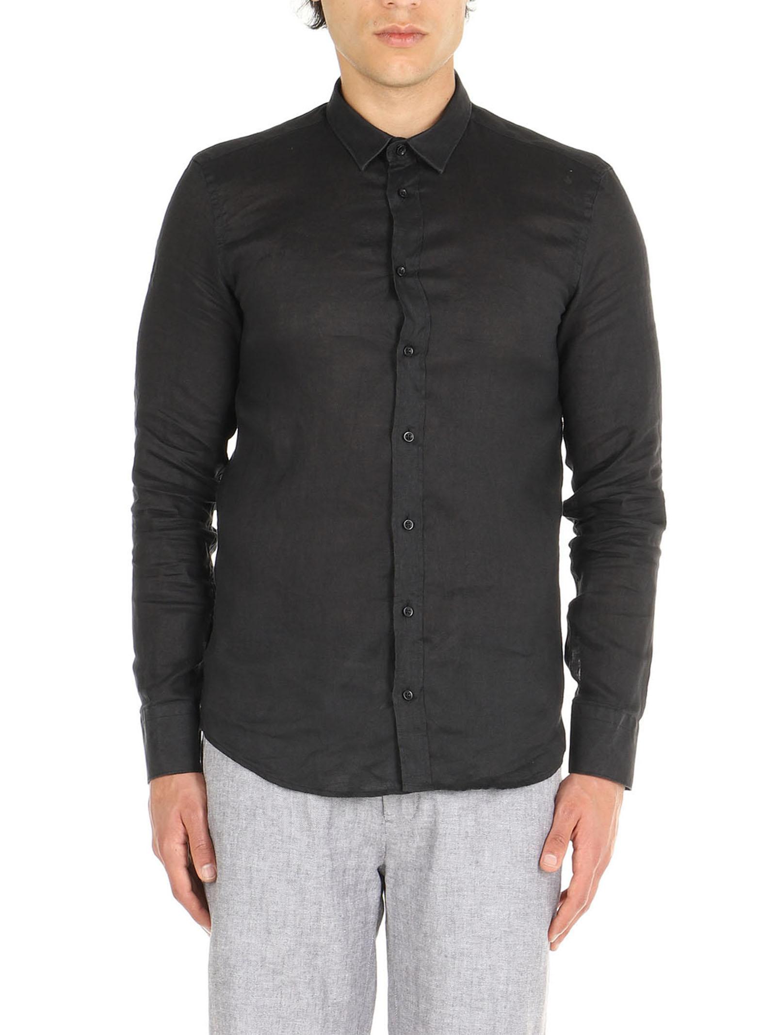Camicia nero di lino maniche lunghe De Lamp | Camicie  | DL21 3000DXNERO