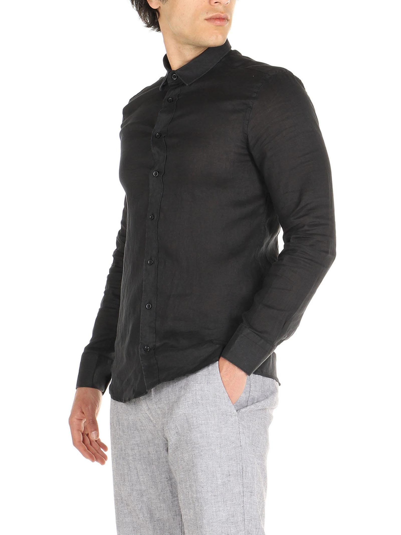 Camicia nero di lino maniche lunghe De Lamp   Camicie    DL21 3000DXNERO