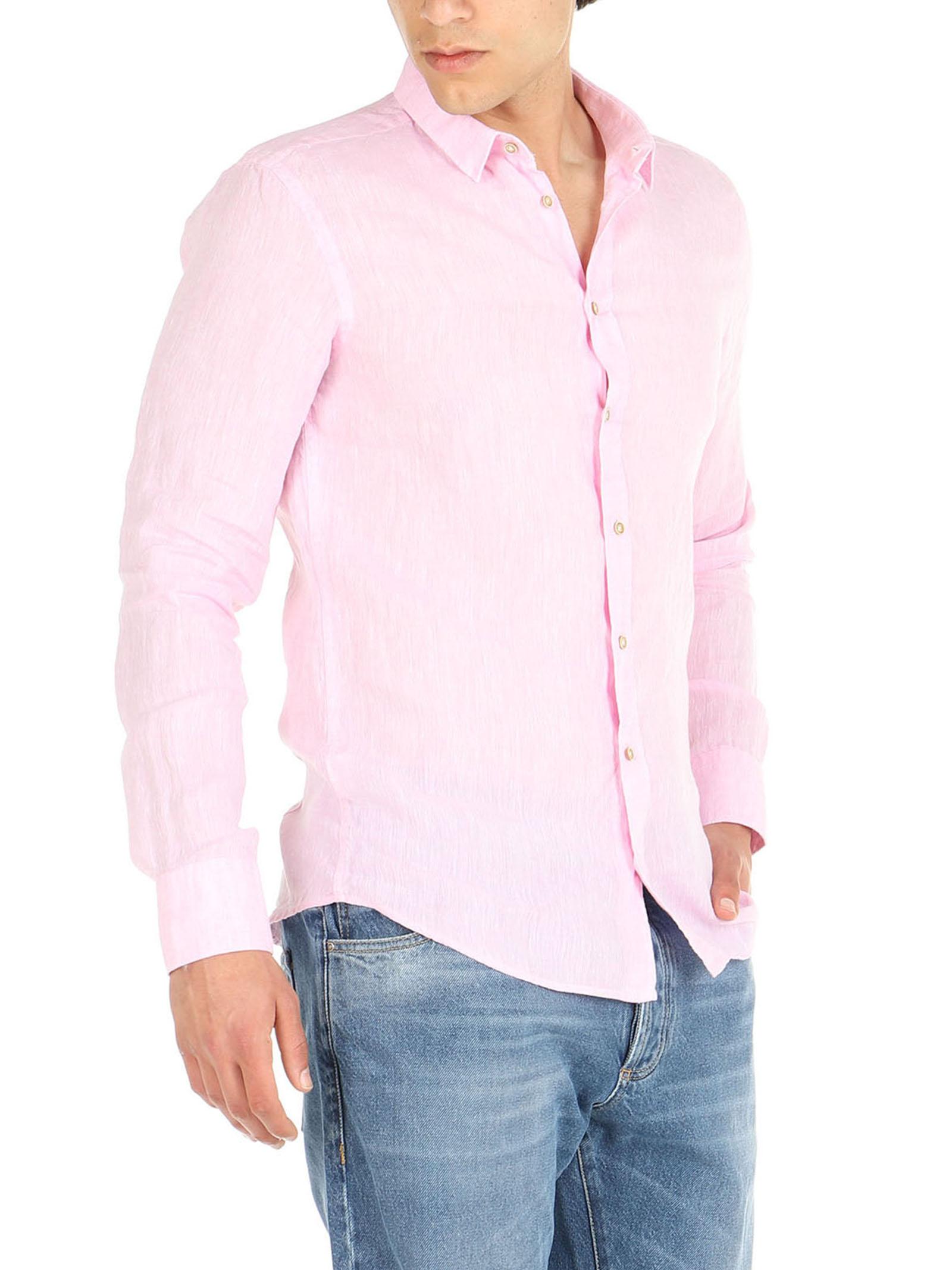 Camicia lino maniche lunghe De Lamp | Camicie  | DL21 3000DXROSA