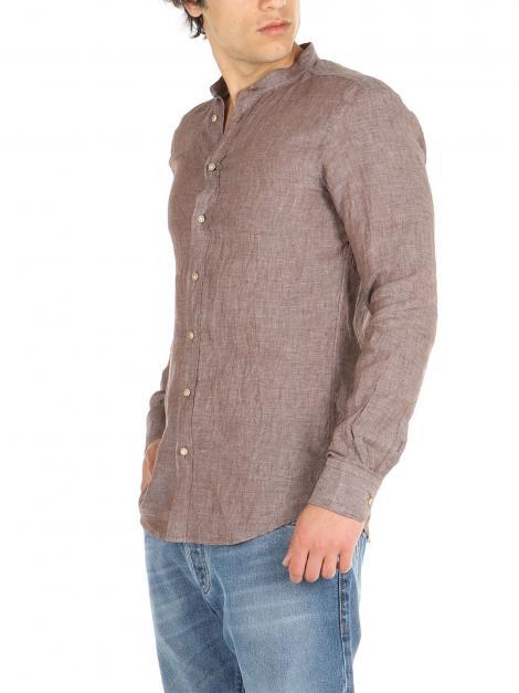Camicia di lino collo coreano De Lamp | Camicie  | DL21 3000CMORO