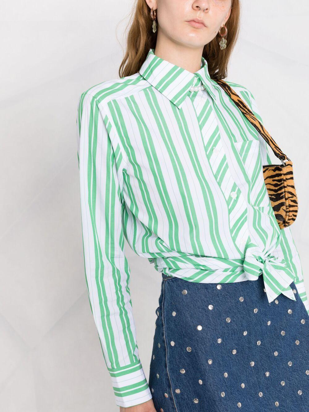 Ganni camicia con nodo donna kelly green GANNI | Camicie | F5737801