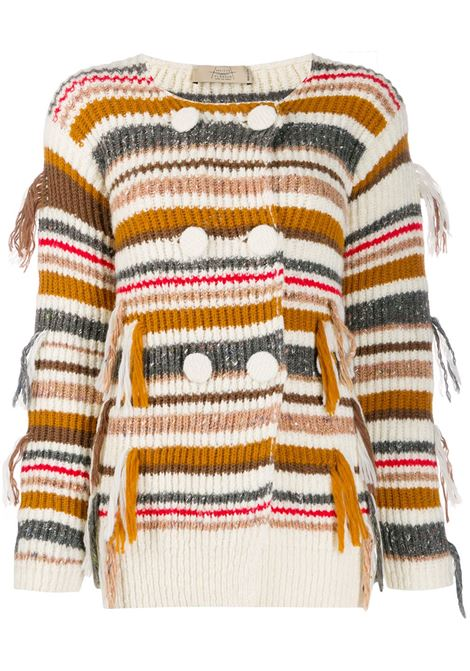 Striped double-breasted cardigan MAISON FLANEUR | Sweaters | 19WMDSW550FY049WHT