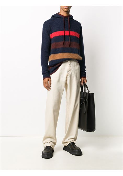 Striped knitted hoodie LANVIN | RMPO0004MV02A2029