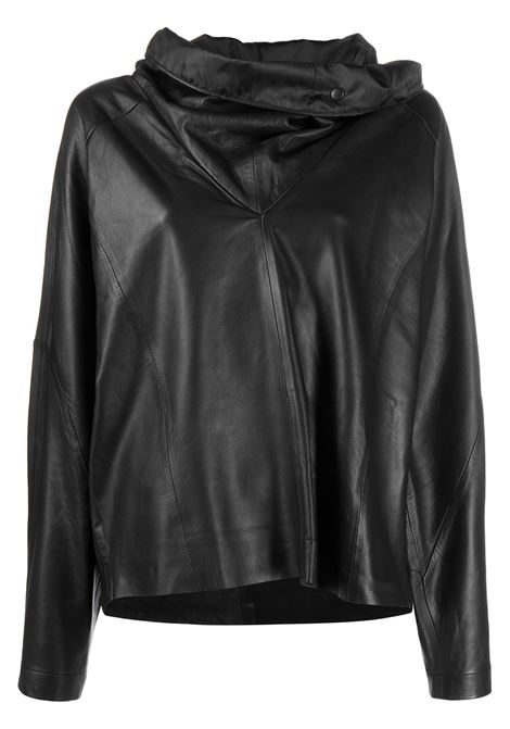 Wide-collar pullover leather sweatshirt REMAIN | Sweatshirts | 9009811000