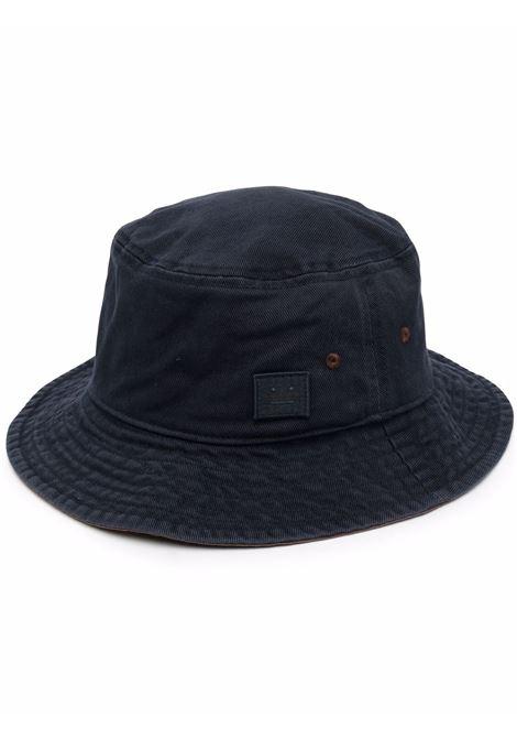 Cappello bucket con logo face blu navy - unisex ACNE STUDIOS FACE | C40156BG3