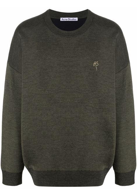 Deep green embroidered logo jumper - men  ACNE STUDIOS | B60177BGO