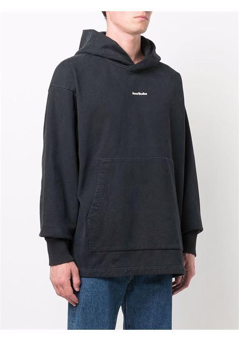 Felpa con cappuccio con logo in nero - uomo ACNE STUDIOS | BI0139900