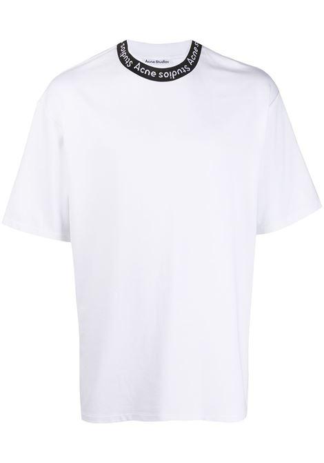 T-shirt con scollo rotondo con logo in bianco - uomo ACNE STUDIOS | BL0221183