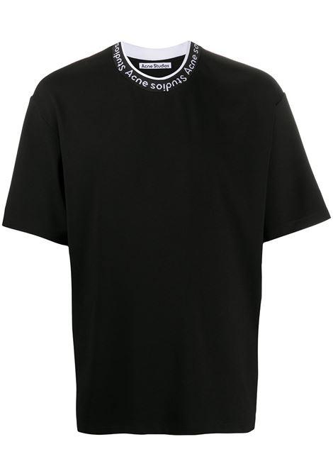 T-shirt con scollo rotondo con logo in nero - uomo ACNE STUDIOS | BL0221900
