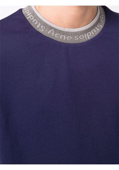Logo T-shirt in blue - man ACNE STUDIOS | BL0282135