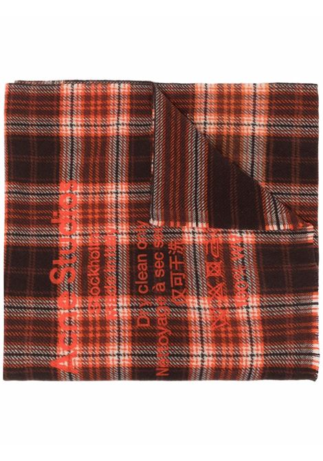 Brown and orange checked wool scarf - men  ACNE STUDIOS | CA0082BOD