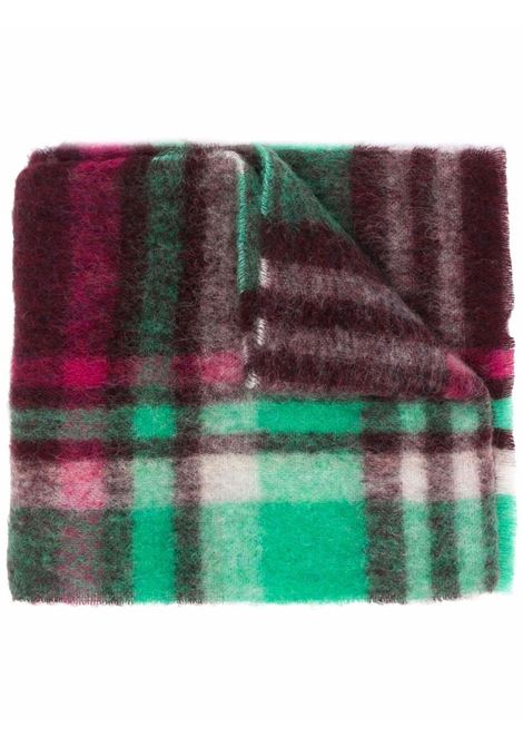 Wine red and green checked wool scarf - men  ACNE STUDIOS | CA0146CRP