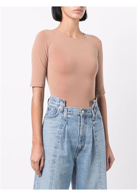Short-sleeved stretch bodysuit in beige - women  ADAMO | ADFW21BO040304760476002