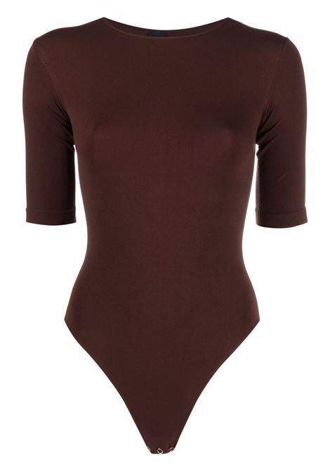 Body elasticizzato a maniche corte in marrone - donna ADAMO | ADFW21BO040304770477003