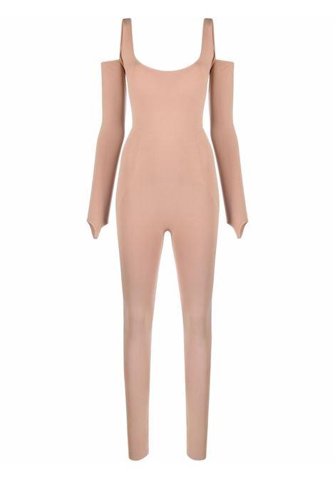 Off-shoulder stretch jumpsuit in beige - women ADAMO | ADFW21JU020304760476002