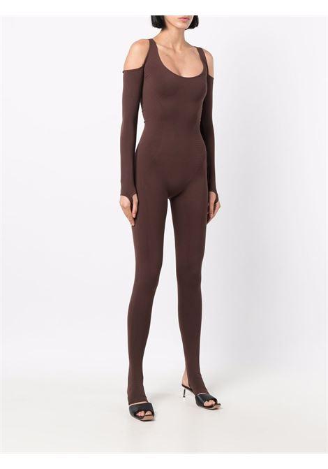 Off-shoulder stretch jumpsuit in sepia brown - women ADAMO | ADFW21JU020304770477003