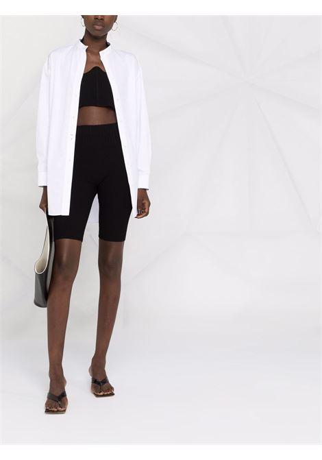 Rib-knit shorts in black - women ADAMO | ADFW21PA050314730473004