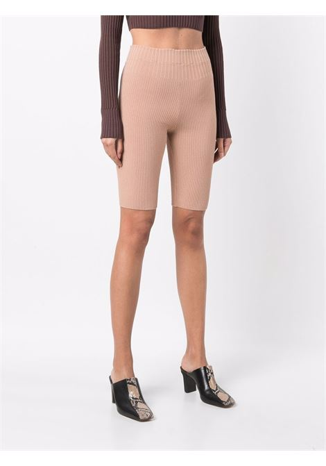 Rib-knit shorts in beige - women ADAMO | ADFW21PA050314760476002