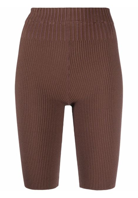 Rib-knit shorts in sepia brown - women ADAMO | ADFW21PA050314770477003