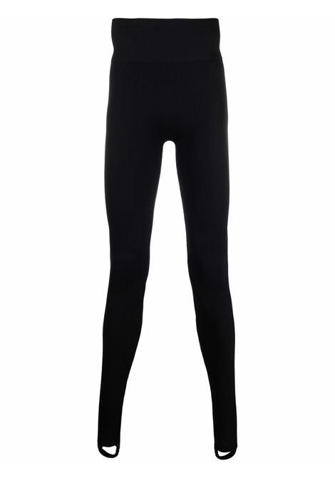 Ribbed-Jersey high-waisted stirrup leggings in black - women  ADAMO | ADFW21PA060324730473004