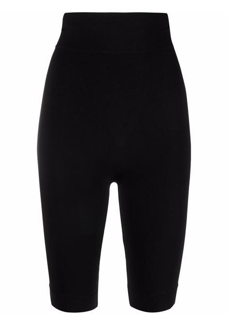 Seamless Sculpting jersey mid-thigh shorts in black - women  ADAMO | ADFW21SH020304730473004