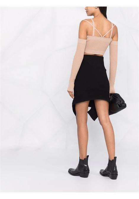 High-waisted cut out-detail mini skirt in black - women  ADAMO | ADFW21SK060314730473004